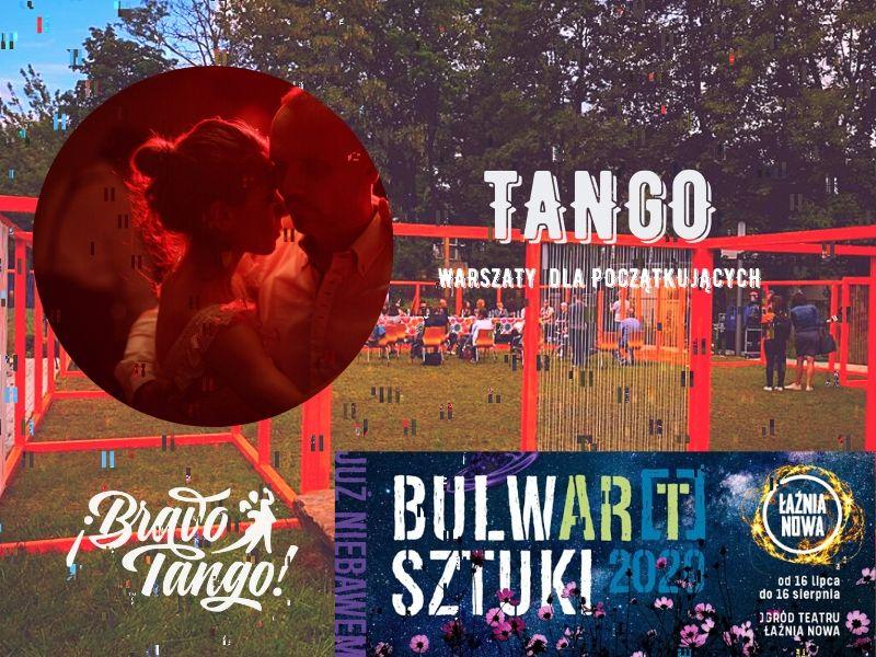 Warsztaty tanga prowadzone przez Bravo Tango w ogrodzie teatru Łaźnia Nowa w Krakowie